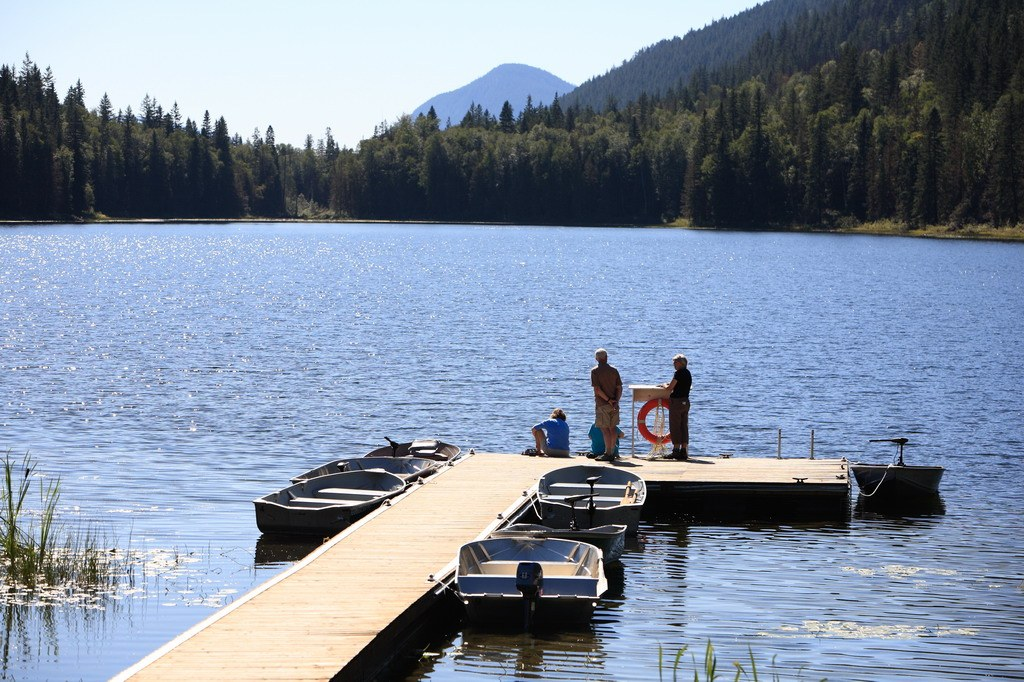 two people on the dock at Alpine Meadows Resort